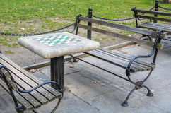 Chess Board Table in a Public Park in New York Royalty Free Stock Image