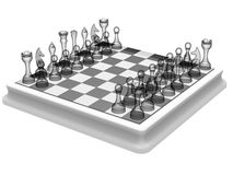 Chess board with transparent pieces Stock Images