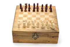 Chess board on white background Royalty Free Stock Images