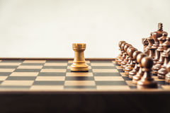 Chess on board  white background. Confrontation concept Royalty Free Stock Photos