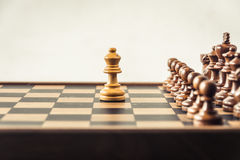 Chess on board  white background. Confrontation concept Stock Photo