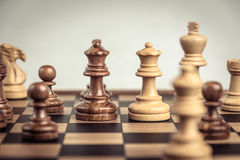 Chess on board  white background. Confrontation concept. Chess on board white background. Confrontation concept Royalty Free Stock Photography