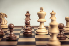 Chess on board  white background. Confrontation concept. Chess on board white background. Confrontation concept Stock Image