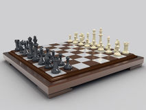 Chess 2. Chess board with white and black pieces. On a gray background Stock Photos