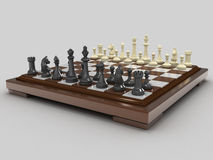 Chess 4. Chess board with white and black pieces. On a gray background Royalty Free Stock Photos