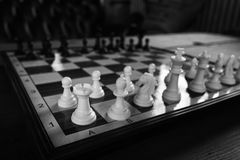 Chess board with white pieces Royalty Free Stock Photo