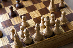 Chess. Board with white pieces at the front Royalty Free Stock Photo