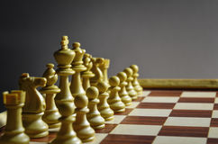 Chess board with white pieces Stock Images