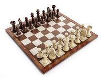 Chess board with wooden chess pieces Royalty Free Stock Photography