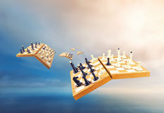 Chess boards in the air Royalty Free Stock Images