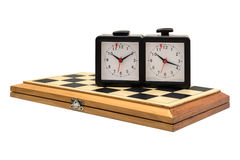 Chess boards and chess clocks. Stock Photos