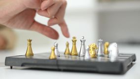 Chess boards and chess pieces game.  stock video