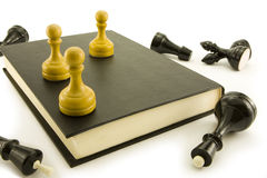 Chess and book. Chess lay around of the book on which there is and pawns Royalty Free Stock Images