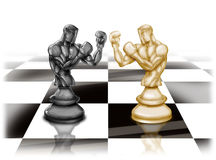 Chess boxers. Illustration of chess pieces looking like boxers Stock Image