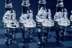 Chess bussiness concept of victory. Chess figures in a reflection of chessboard. Stock Photos