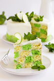 Chess cake with pistachios Royalty Free Stock Photography
