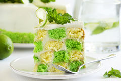 Chess cake with pistachios Royalty Free Stock Photos