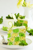 Chess cake with pistachios Stock Photos