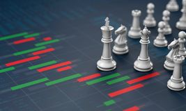 Chess on candle stick graph, planning buy sell on stock market. 3d rendering Royalty Free Stock Photo