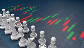 Chess on candle stick graph, planning buy sell on stock market. 3d rendering Royalty Free Stock Photos