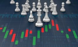 Chess on candle stick graph, planning buy sell on stock market. 3d rendering Stock Photo