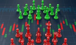 Chess on candle stick graph, planning buy sell on stock market royalty free illustration
