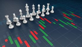 Chess on candle stick graph, planning buy sell on stock market. 3d rendering Royalty Free Stock Image