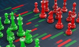 Chess on candle stick graph, planning buy sell on stock market. 3d rendering Stock Images