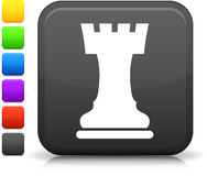 Chess castle icon on square internet button Stock Photo