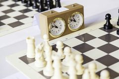 Chess championship. Detail of a championship of intelligence, competition, board game Royalty Free Stock Image
