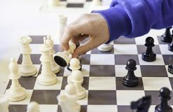 Chess championship. Detail of a championship of intelligence, competition, board game Stock Photography