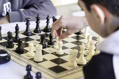 Chess championship. Detail of a championship of intelligence, competition, board game Stock Photo