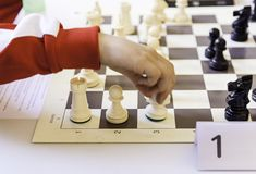 Chess championship. Detail of a championship of intelligence, competition, board game Royalty Free Stock Photography