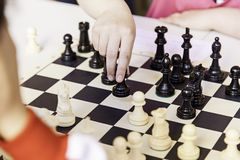 Chess championship. Detail of a championship of intelligence, competition, board game Royalty Free Stock Images
