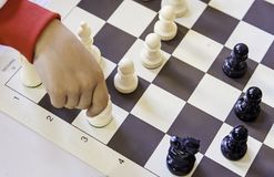 Chess championship. Detail of a championship of intelligence, competition, board game Royalty Free Stock Photo