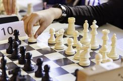 Chess championship. Detail of a championship of intelligence, competition, board game Royalty Free Stock Photos