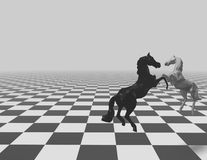Chess checkered background with horses and copy space. Royalty Free Stock Images