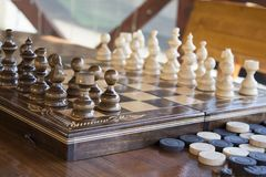 Chess and checkers Stock Image