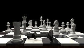 Chess - Checkmate. 3D chess game checkmate. The black king is in focus, the background is slightly out of focus Royalty Free Stock Photography