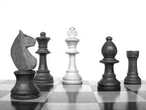Chess checkmate. Chess board with checkmate scenary in black and white stock image
