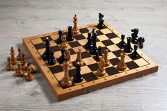 Chess. Chess board battle black and white Royalty Free Stock Photo