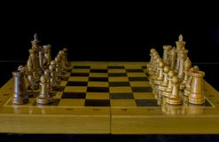 Chess. Chess board on a black background. stock image