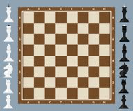 Chess, chess board with figures. Flat design, vector illustration, vector Stock Images
