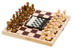 Chess with a chess board Stock Images