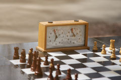 Chess and chess clock outdoors Royalty Free Stock Photos