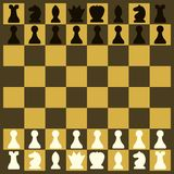 Chess on a chessboard at the beginning of the game royalty free illustration