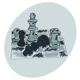 Chess on a chessboard. Blue pattern.  Doodle. Hand drawing Royalty Free Stock Photo