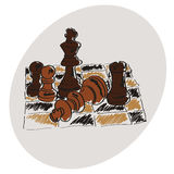 Chess on a chessboard. Brown pattern. Doodle. Hand drawing royalty free illustration