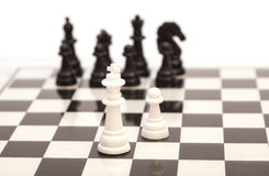 Chess on the chessboard. Isolated Royalty Free Stock Image
