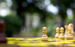 Chess on a chessboard in the park. Pawn close-up Stock Image
